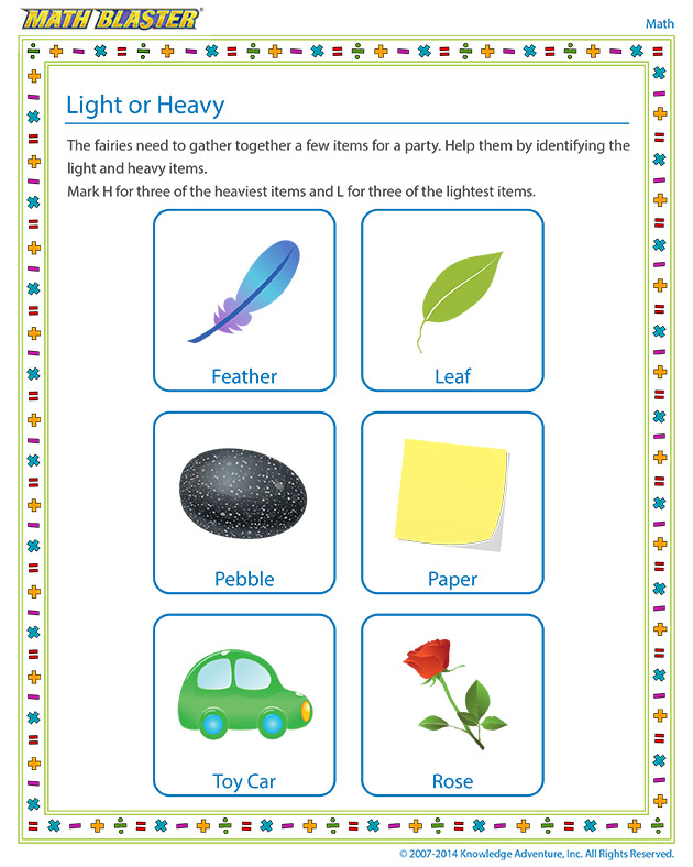 Worksheet of the Week: Light or Heavy | The Math Blaster Blog