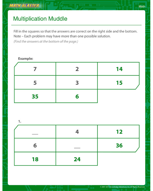 Worksheet Of The Week Multiplication Muddle The Math Blaster Blog